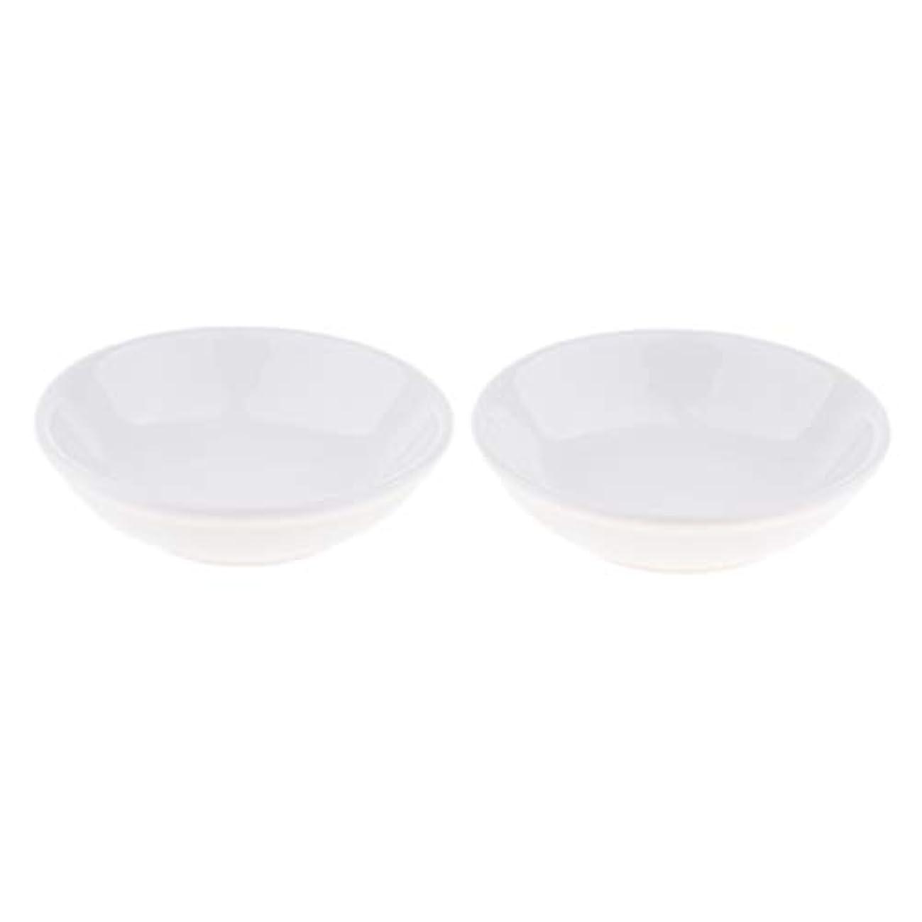 クレジット公平発明する2個 交換用ディッシュ 皿 取り替え皿 セラミック 円形 オイルウォーマー 白