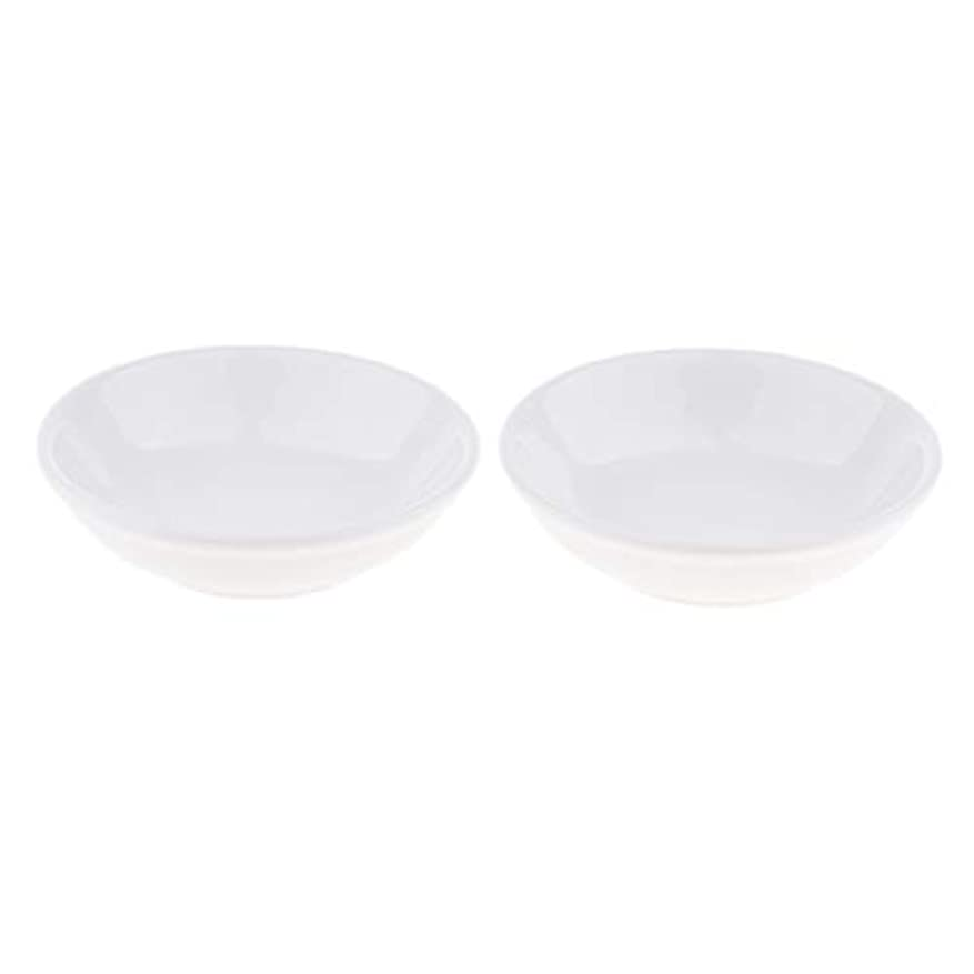 交差点レジ寛大さ2個 交換用ディッシュ 皿 取り替え皿 セラミック 円形 オイルウォーマー 白