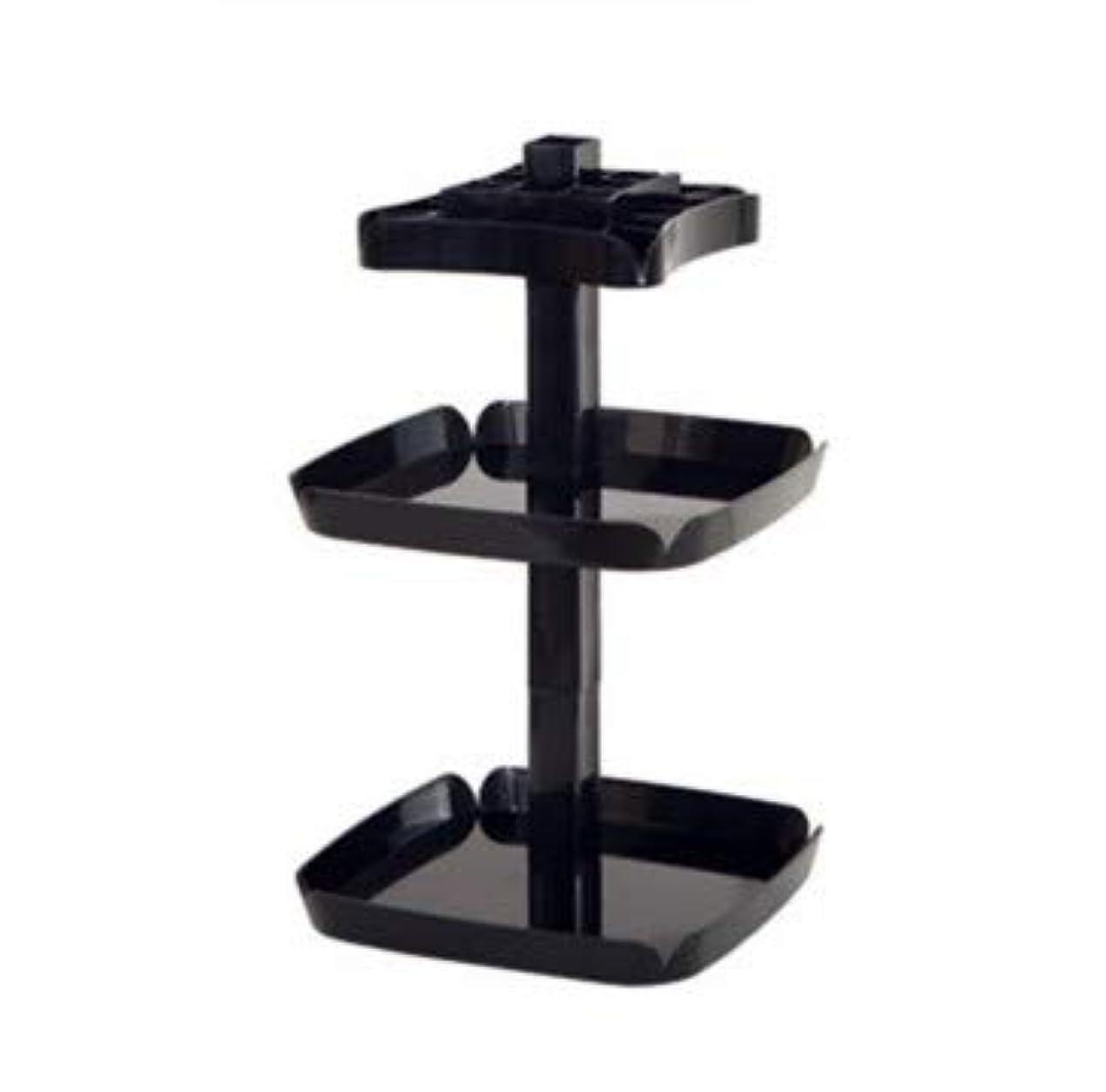 何賢明なジェスチャークリエイティブ回転マニュアルデスクトップ化粧品収納ボックスプラスチック多機能家庭用仕上げボックス (Color : ブラック)