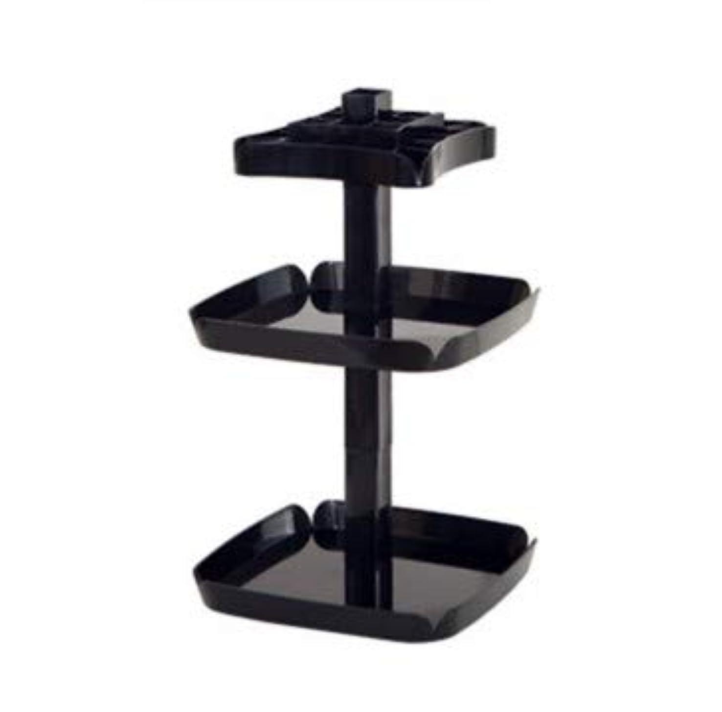 ボウリング職業信頼クリエイティブ回転マニュアルデスクトップ化粧品収納ボックスプラスチック多機能家庭用仕上げボックス (Color : ブラック)