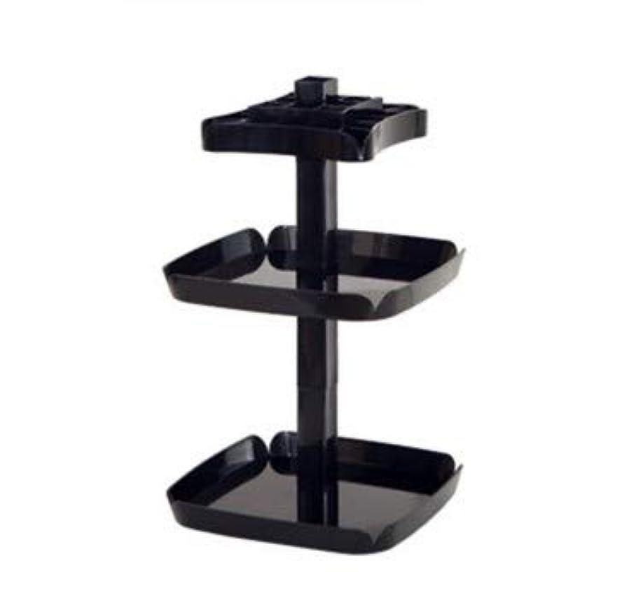 エスカレーターピル発火するクリエイティブ回転マニュアルデスクトップ化粧品収納ボックスプラスチック多機能家庭用仕上げボックス (Color : ブラック)
