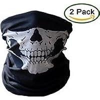 2パックブラックシームレススカル面チューブマスクオートバイ面マスク