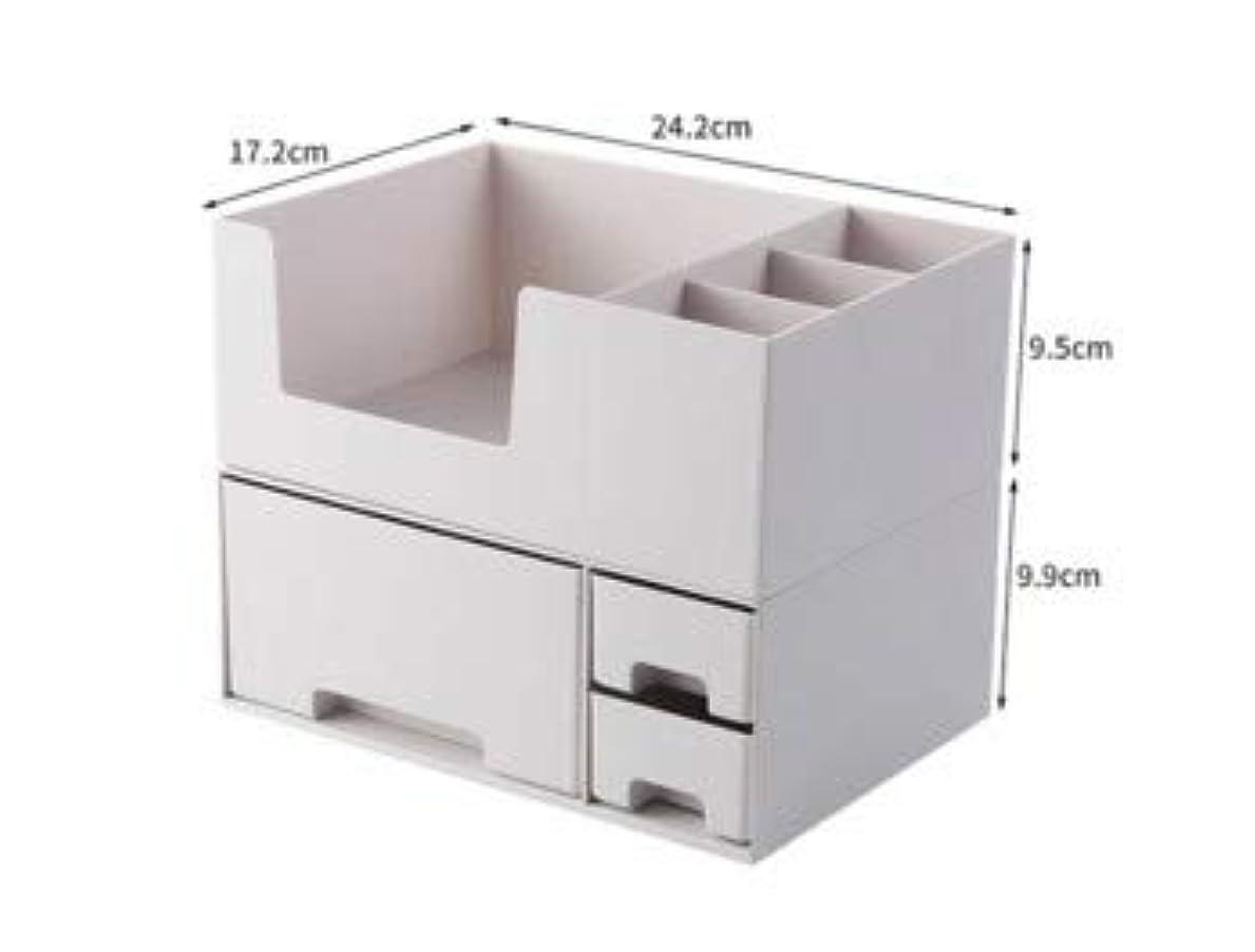 ランデブー柔和シェア化粧品収納ボックスプラスチックデスクトップ仕上げボックスマスクスキンケア製品ラック口紅ボックス収納 (Color : ホワイト)