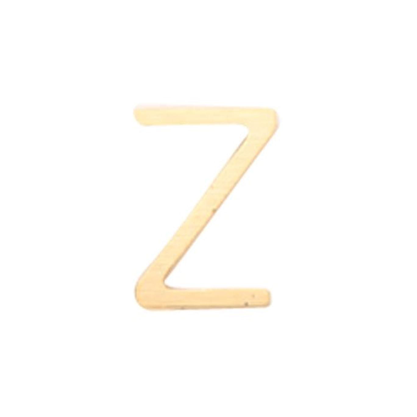 油体現する基本的なリトルプリティー ネイルアートパーツ アルファベット Z ゴールド 10個