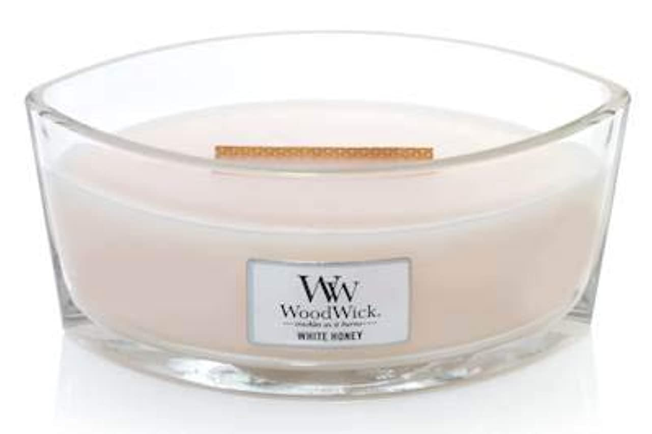 最も遠い二壁WoodWick ホワイトハニーエリプス HearthWick 炎の香り付きキャンドル