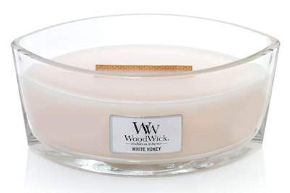 応援するチップ完璧WoodWick ホワイトハニーエリプス HearthWick 炎の香り付きキャンドル