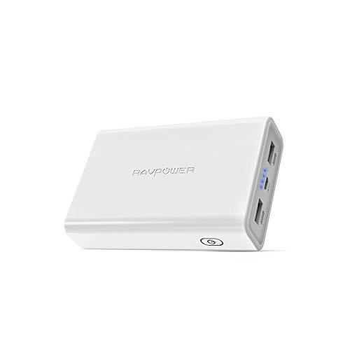 RAVPower モバイルバッテリー 10000mAh 小型 軽量 大容量 急速充電 iSmart2.0機能(2.4A入力、 2ポート 、2.4A出力) 2ポート iPhone Android 対応 RP-PB005 N (白)