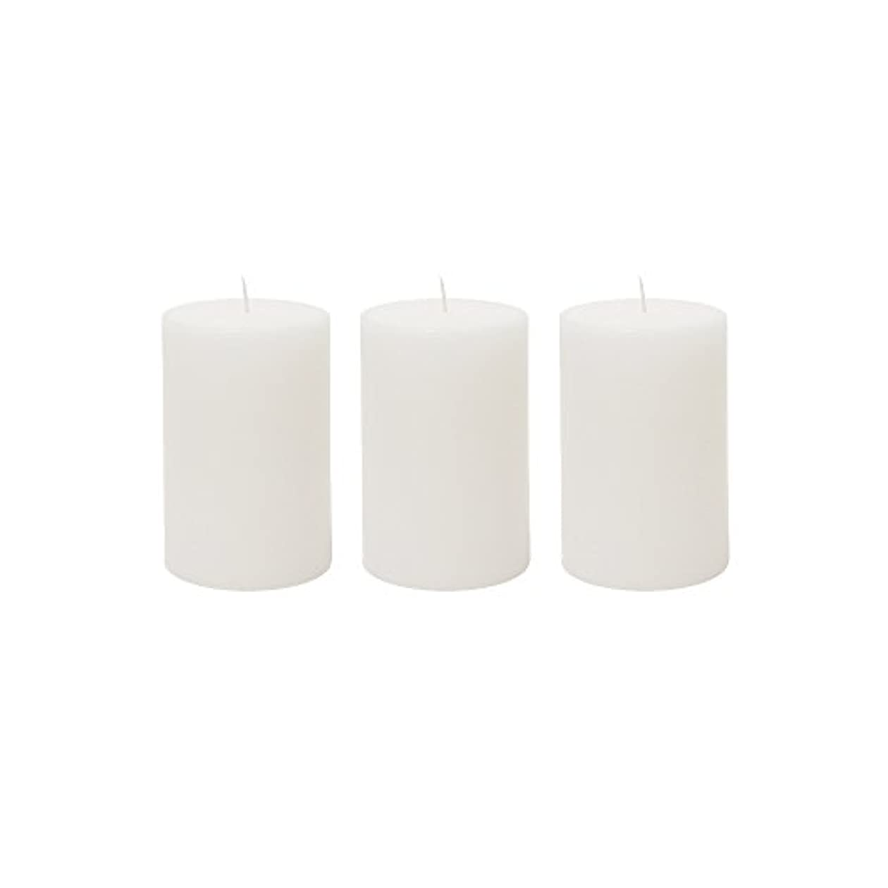 (3, 5.1cm x 7.6cm Round) - Mega Candles 3 pcs Unscented White Round Pillar Candle Hand Poured Premium Wax Candles...