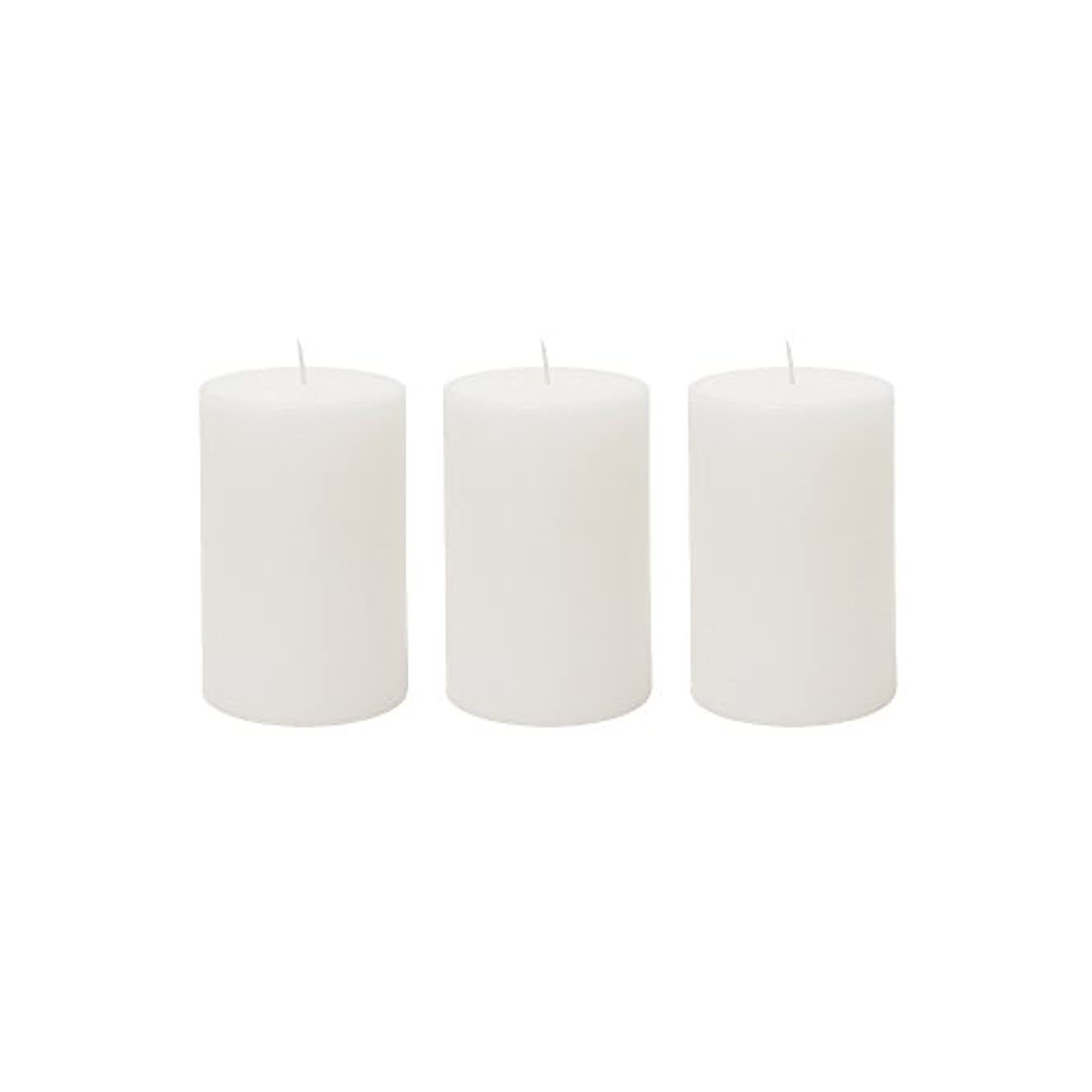 鉄道評決尊敬する(3, 5.1cm x 7.6cm Round) - Mega Candles 3 pcs Unscented White Round Pillar Candle Hand Poured Premium Wax Candles...