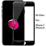 iPhone 6 6s フルスクリーン 6D タッチガラス プロテクター SUARB HD クリア 9H 硬度 0.3mm 端から端まで 耐衝撃 傷防止 強化ガラス スクリーンプロテクター Apple iPhone 6/6s [4.7インチ] ブラック S14-1-iPhone8