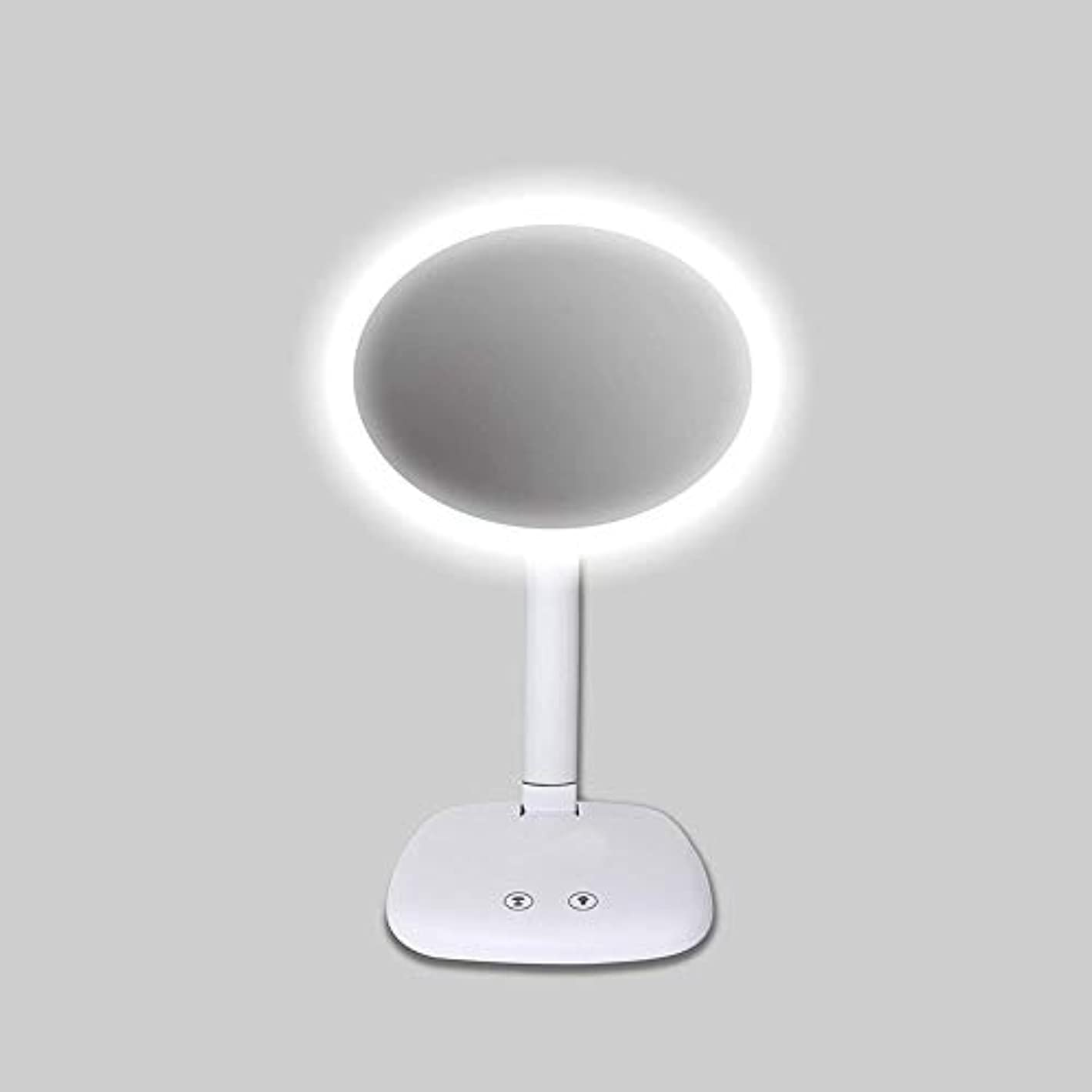 賭け敬の念はげLED化粧鏡、デスクトップミラー、2-1バニティミラー、タッチセンシティブLEDミラー、3つの明るさ調節可能、USBまたはバッテリータイプ(白)