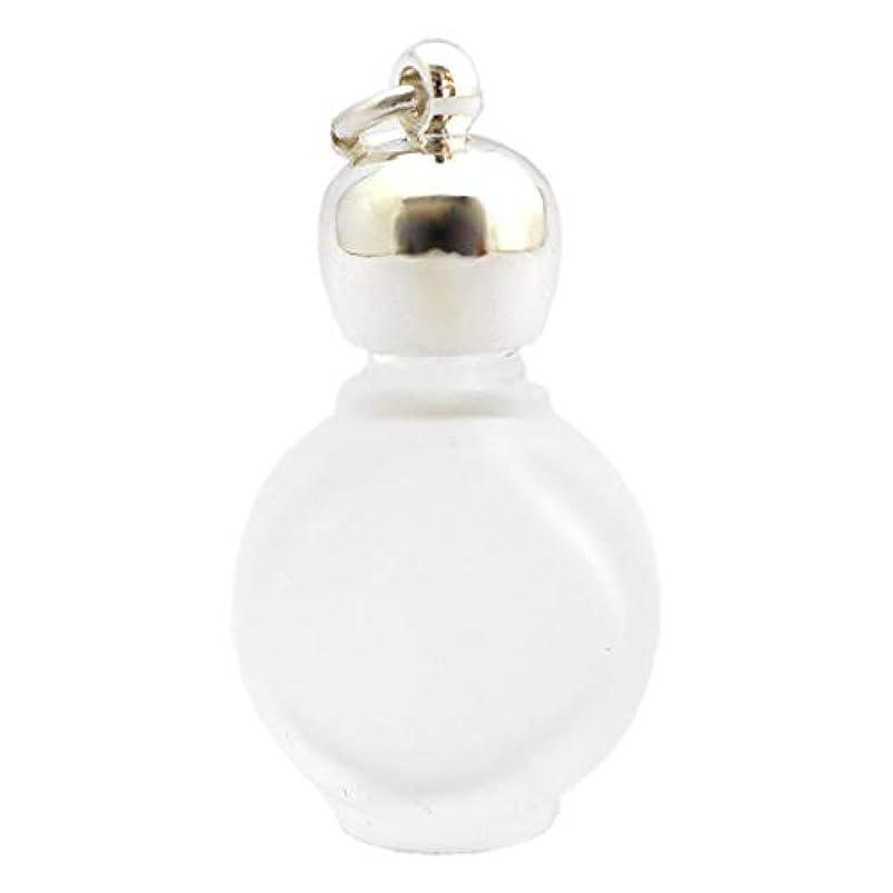 親指中央値ホストミニ香水瓶 アロマペンダントトップ タイコフロスト(すりガラス)1ml?シルバー?穴あきキャップ、パッキン付属