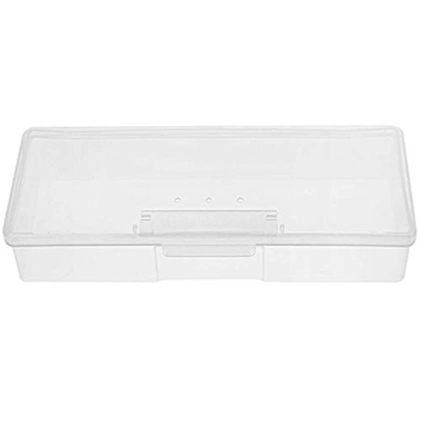 ロッド忠実な意気揚々CUHAWUDBA マニキュア用白いプラスチック透明ネイルツール収納ボックスネイルラインストーン装飾バッファファイル研削オーガナイザーケースツール