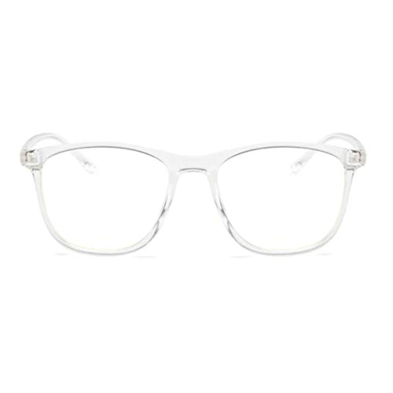 測る縁バケット韓国の学生のプレーンメガネ男性と女性のファッションメガネフレーム近視メガネフレームファッショナブルなシンプルなメガネ-透明ホワイト
