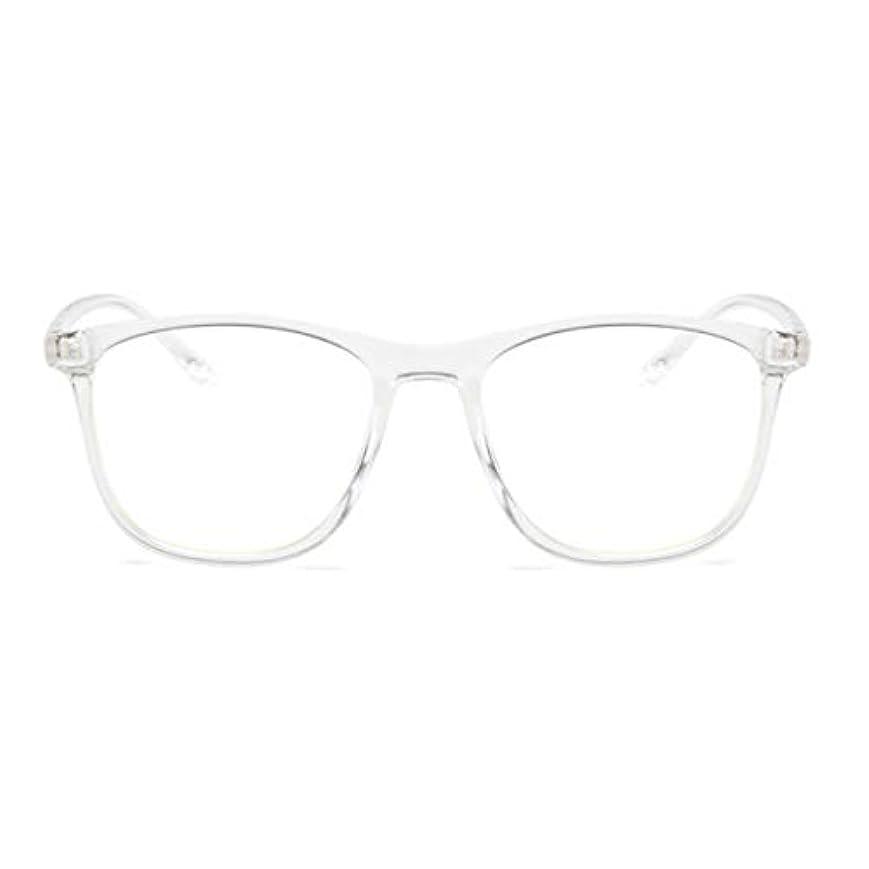 マスタードかなりの鋭く韓国の学生のプレーンメガネ男性と女性のファッションメガネフレーム近視メガネフレームファッショナブルなシンプルなメガネ-透明ホワイト
