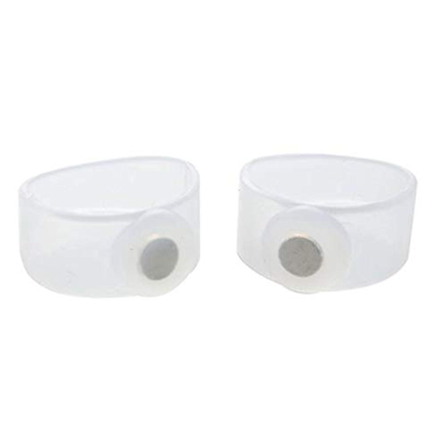 うまくいけば朝ゴミ箱を空にする2ピース痩身シリコン磁気フットマッサージャーマッサージリラックスつま先リング用減量ヘルスケアツール美容製品(Color:Transparent)