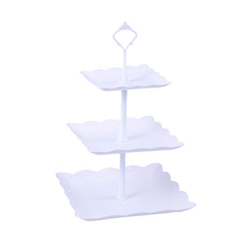 WINOMO ケーキ スタンド プレート 3段 お菓子皿 アフタヌーンティースタンド インテリア おしゃれ 北欧風 四角型