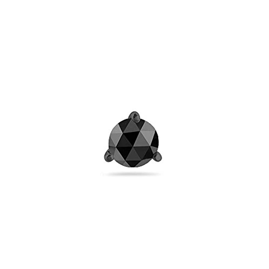 層暴行ぼかすクリスマスDeal – 3 / 8 ( 0.35 – 0.45 ) CTSの4.40 – 5.40 MM AAAラウンドローズカットブラックダイヤモンドメンズスタッドイヤリング14 K Blackenedホワイトゴールド