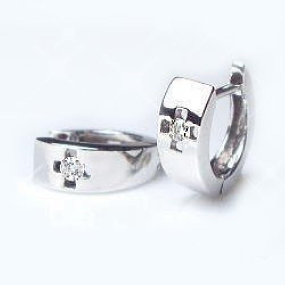 決して泣く電気的[ラグジュエリー][Lugejewelry]K18ダイヤモンドフープピアス Le Meilleurdia Cross 0.04ct 天然ダイヤモンド メンズ K18PG(ピンクゴールド) [ジュエリー]【ラッピング対応】