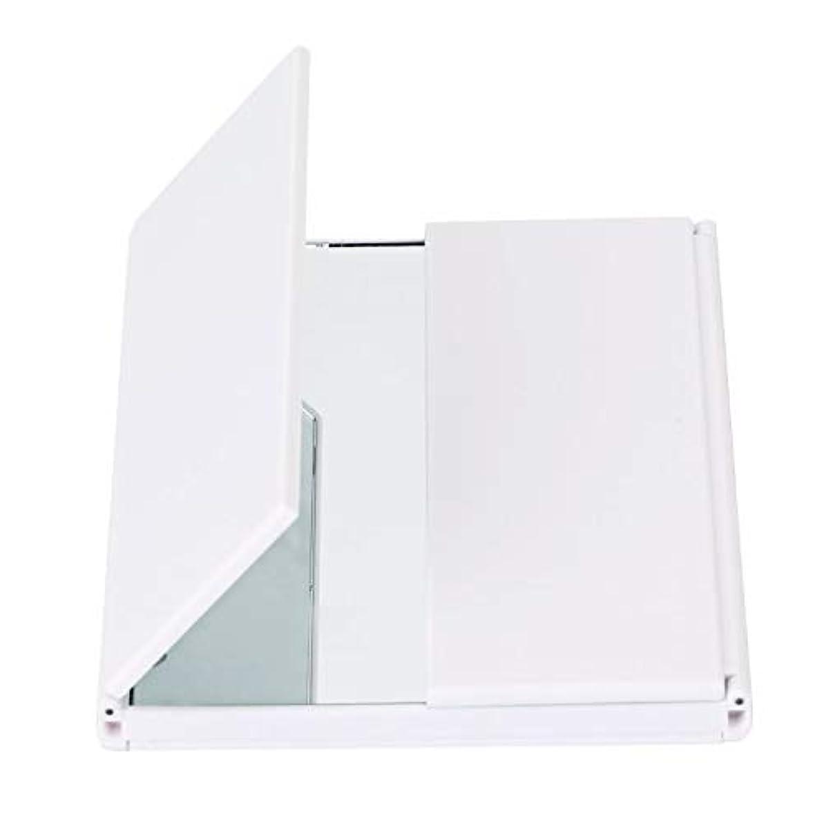 月曜日サンドイッチメール化粧鏡、導かれた軽い旅行化粧品のギフトが付いている三重の虚栄心ミラーの卓上スタンド (Color : ホワイト)