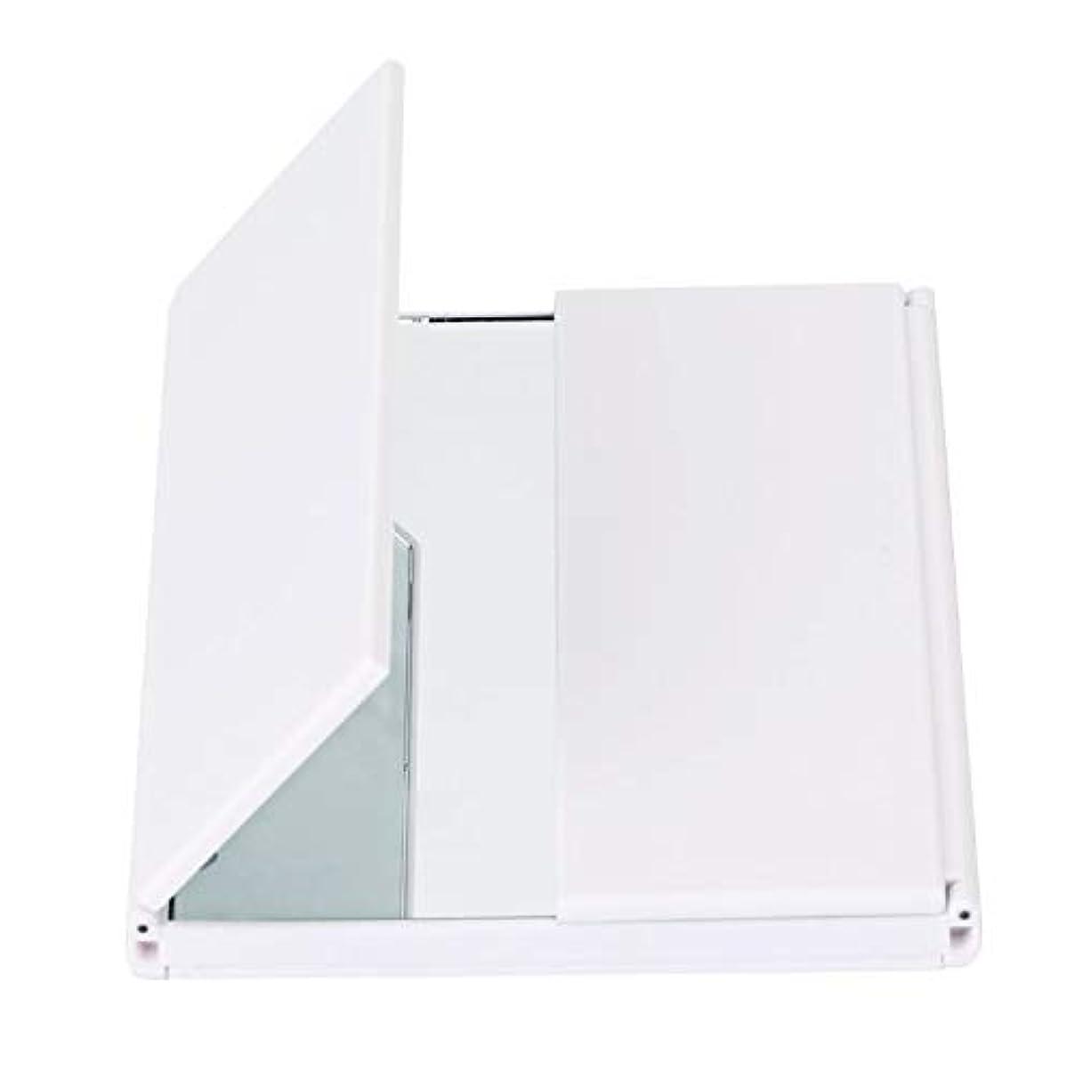 反発会議支出化粧鏡、導かれた軽い旅行化粧品のギフトが付いている三重の虚栄心ミラーの卓上スタンド (Color : ホワイト)