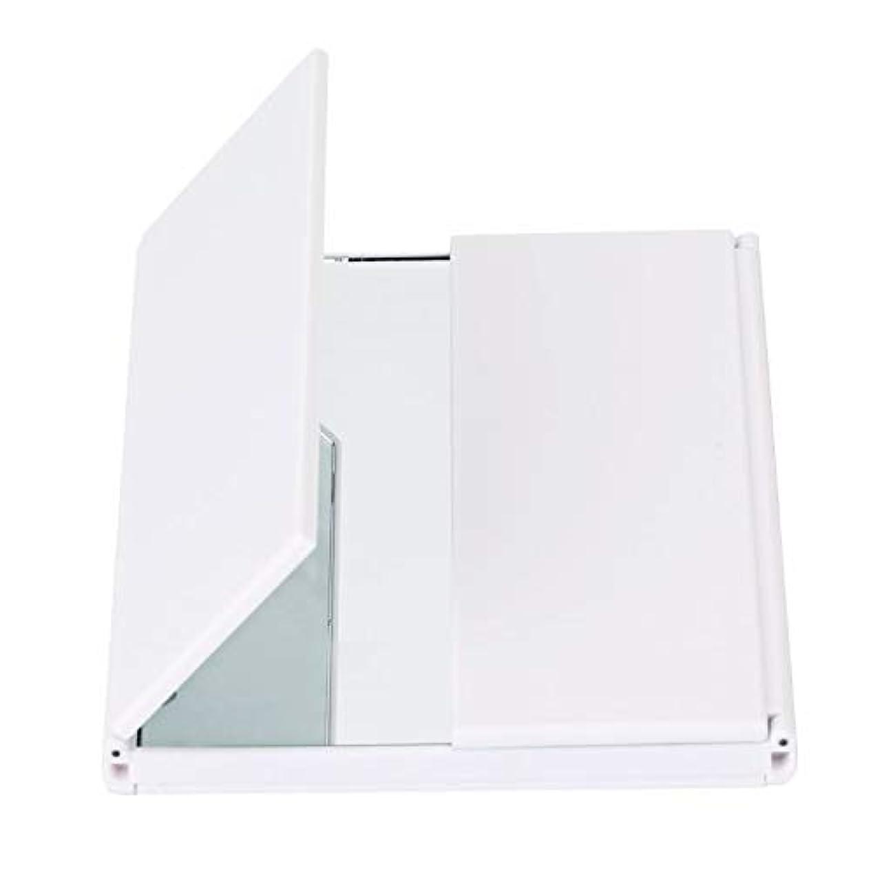 ドラゴン金額協会化粧鏡、導かれた軽い旅行化粧品のギフトが付いている三重の虚栄心ミラーの卓上スタンド (Color : ホワイト)