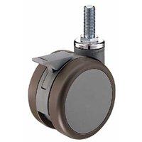 ハンマー キャスター ねじ込み双輪 車輪 7061A-FA1 100mm M16 (グレー)  旋回式 トータルロック付