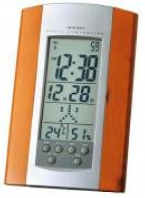 【名入れ代込み】多機能電波時計(日付?温湿度?アラ-ム?置掛け兼用)名前?メッセ-ジ可名入れ下部ボタン下