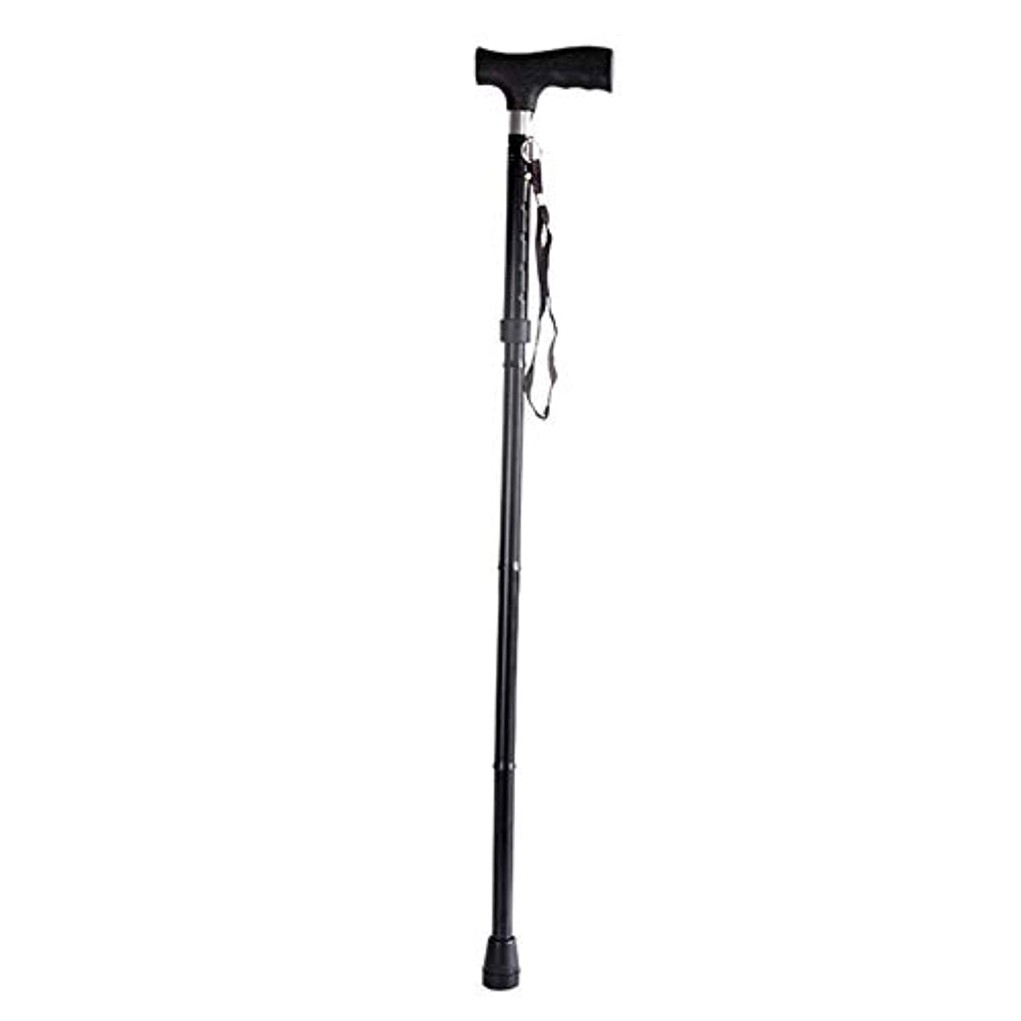 犬拘束悲しい人間工学に基づいてデザインされた折りたたみ式木製ステッチ付き杖杖左または右利き用の調節可能な高さレベル5 - 黒