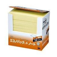 3M ポスト・イット エコノパック ノート 再生紙 75×127mm イエロー 1パック(12冊)