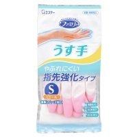エステー ファミリー ビニールうす手 指先強化手袋 S ピンク 1双