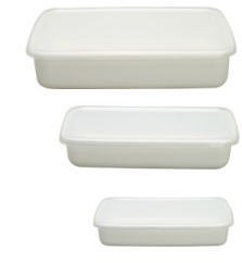 野田琺瑯 レクタングル浅型 S+M+L ホワイトシリーズ シール蓋付(3個セット)