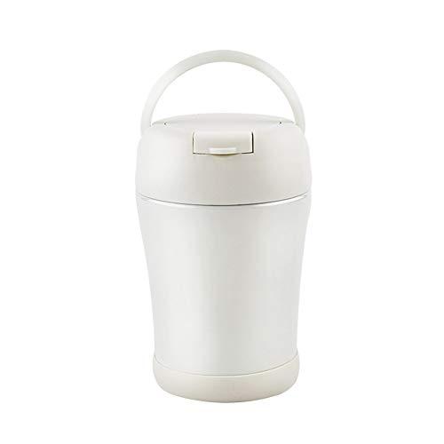 L'amoshare 魔法瓶 真空 断熱 スープジャー 保温 弁当箱 400ml/600ml (ホワイト 400ml)