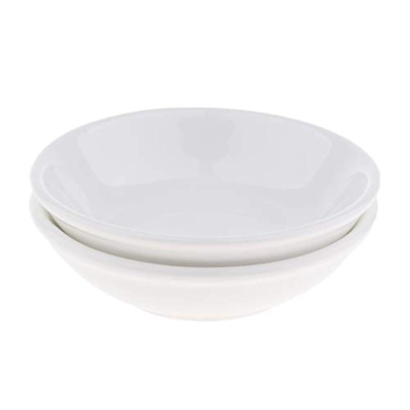 Hellery 2ピース/個オイルウォーマー交換用皿、幅9.7cmの白いセラミックボウル、電気オイルアロマセラピーバーナーヒーター用交換皿