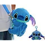 """Disney Stitchギフトセット。ソフトPlushショルダーミニバッグW / Miniポケット& Cute Plush人形バッグチャーム5"""" Tall。"""