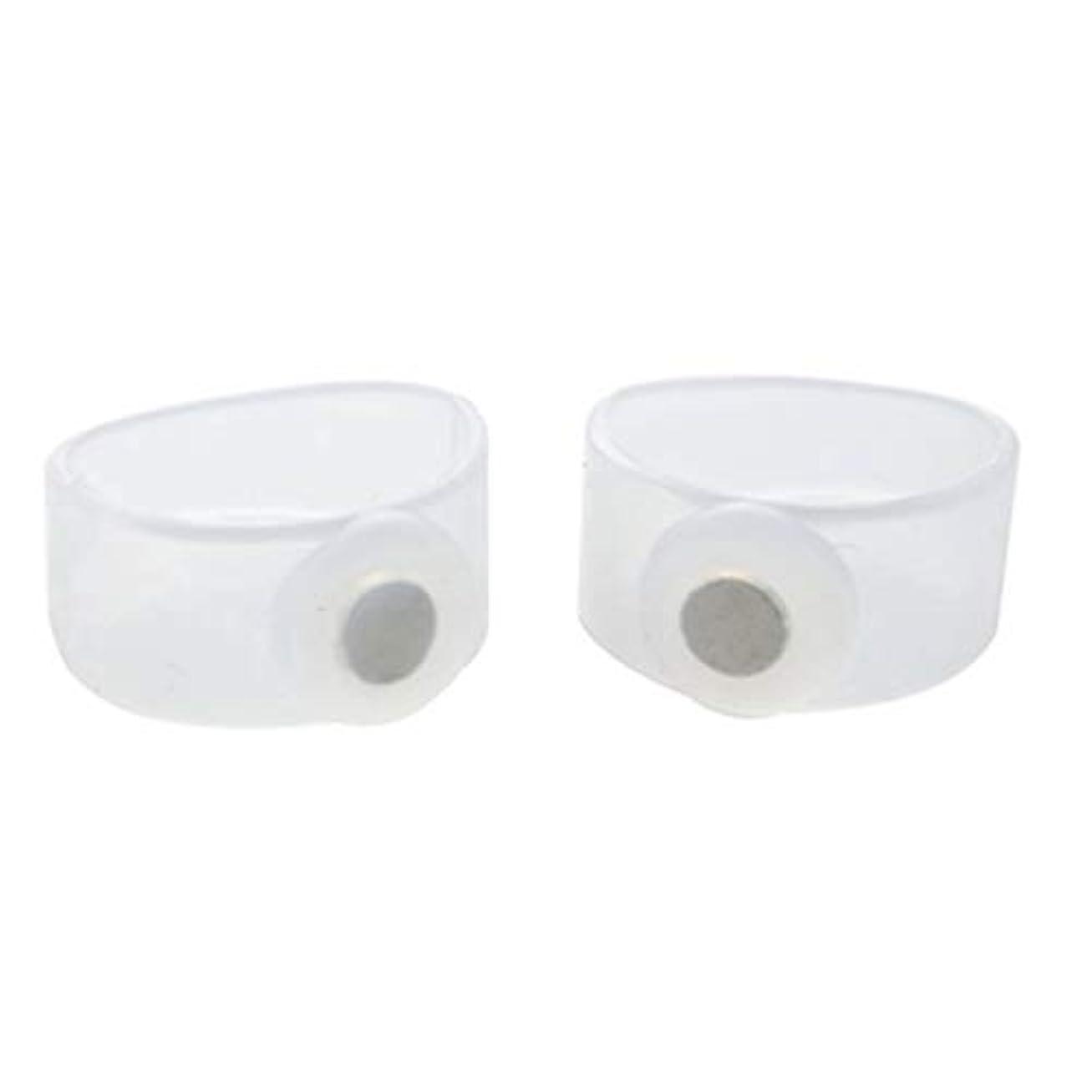 子供っぽいタッチ鉱石2ピース痩身シリコン磁気フットマッサージャーマッサージリラックスつま先リング用減量ヘルスケアツール美容製品 - 透明