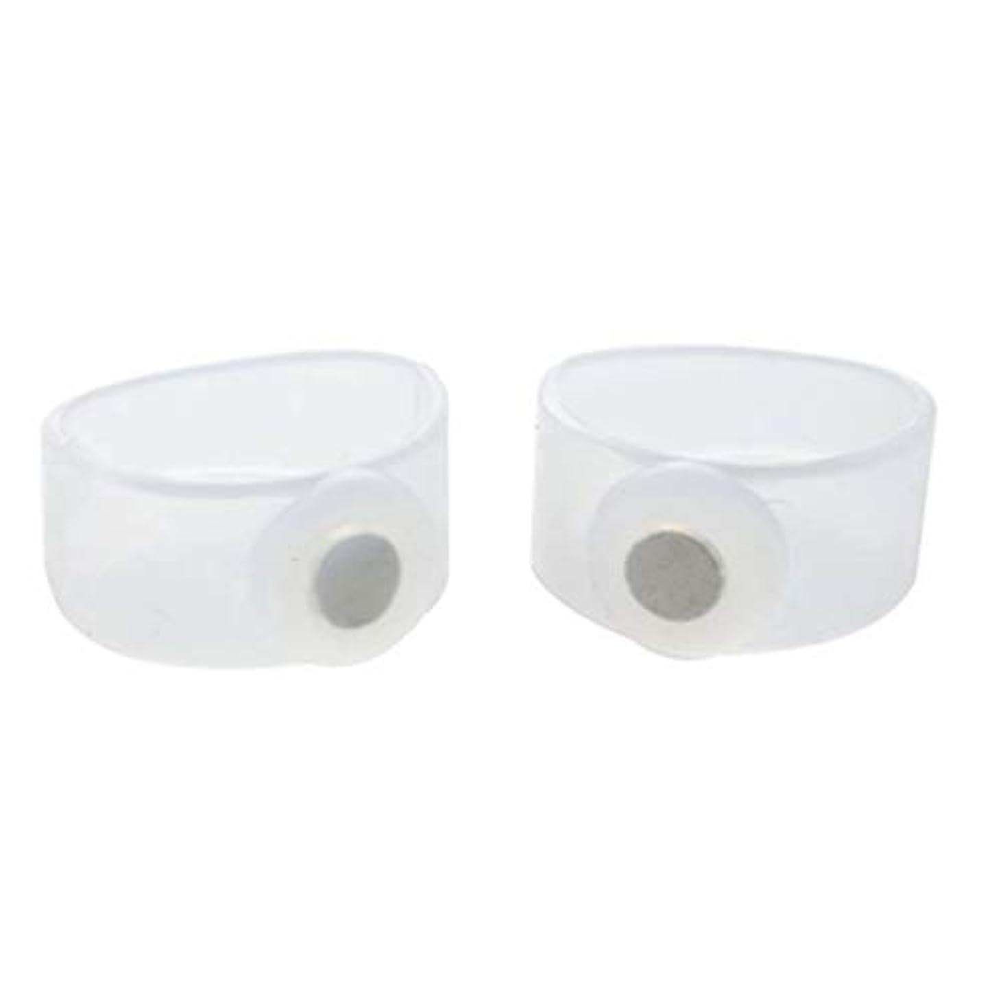 失態ブラウズ黙2ピース痩身シリコン磁気フットマッサージャーマッサージリラックスつま先リング用減量ヘルスケアツール美容製品 - 透明