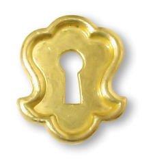 R-8 Brass Keyhole Escutcheon Antique Cabinet, Drawer, Desk & Other Vintage Furniture Reproduction Restoration Hardware + Free Bonus (Skeleton Key Badge)