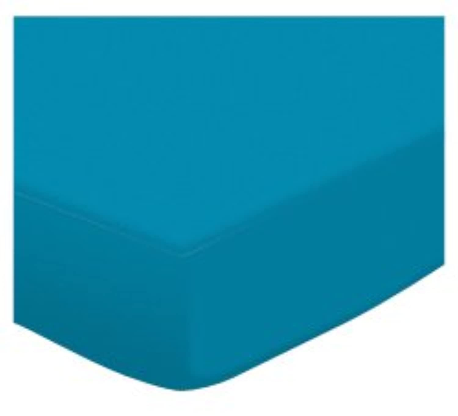 SheetWorld Extra Deep Fitted Portable / Mini Crib Sheet - Turquoise Jersey Knit - Made In USA by sheetworld
