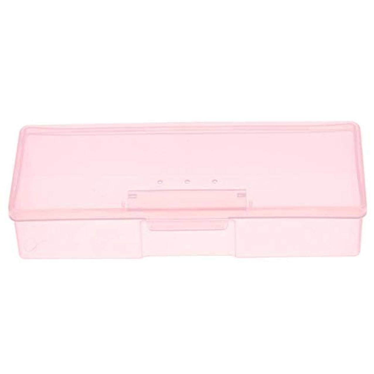 混合今まで冗長CUHAWUDBA マニキュア用ピンクプラスチック透明ネイルツール収納ボックスネイルラインストーン装飾バッファファイル研削オーガナイザーケースツール