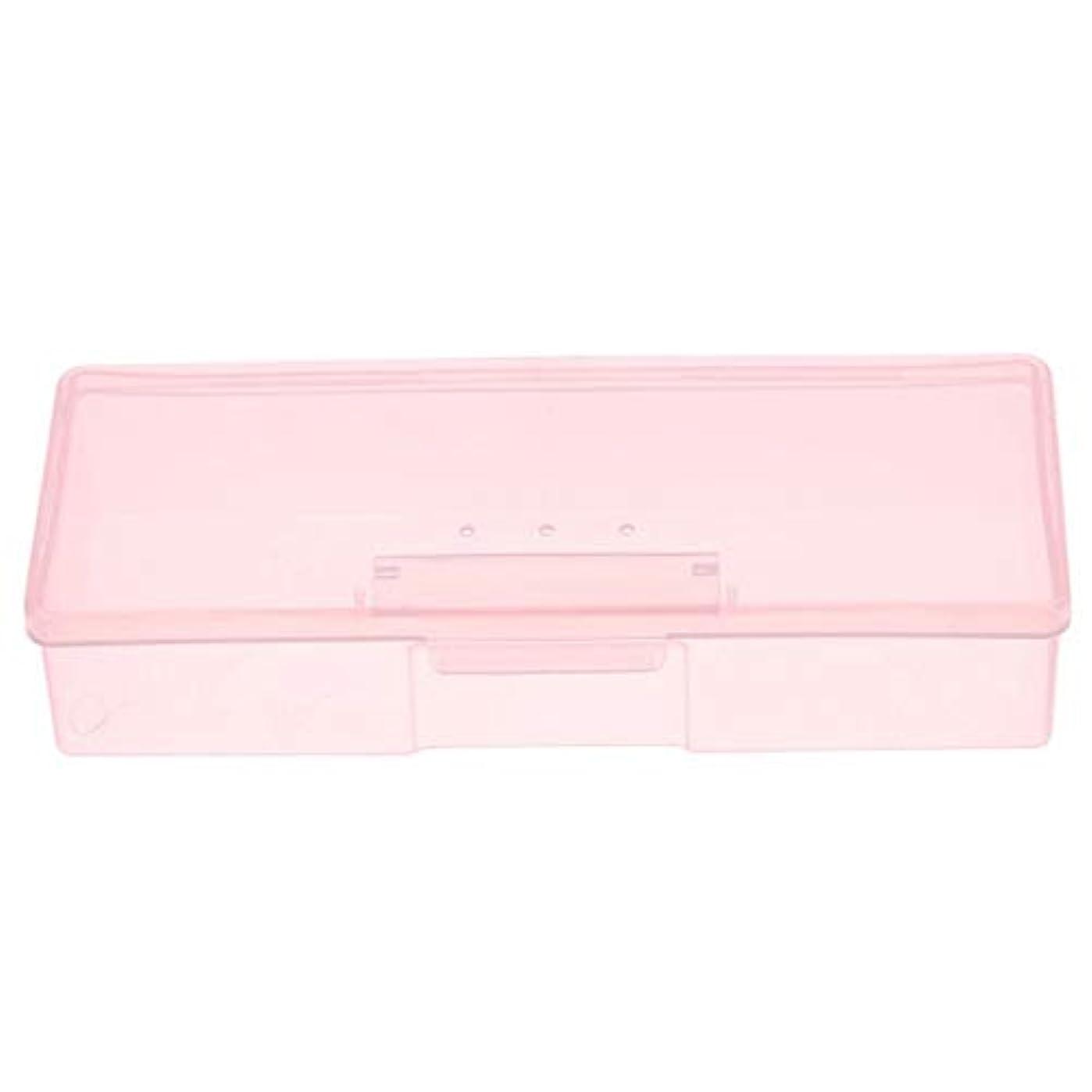 細部スラダムバージンCUHAWUDBA マニキュア用ピンクプラスチック透明ネイルツール収納ボックスネイルラインストーン装飾バッファファイル研削オーガナイザーケースツール