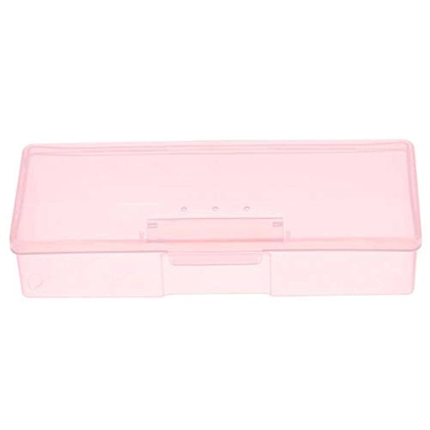 キャベツによって残基CUHAWUDBA マニキュア用ピンクプラスチック透明ネイルツール収納ボックスネイルラインストーン装飾バッファファイル研削オーガナイザーケースツール