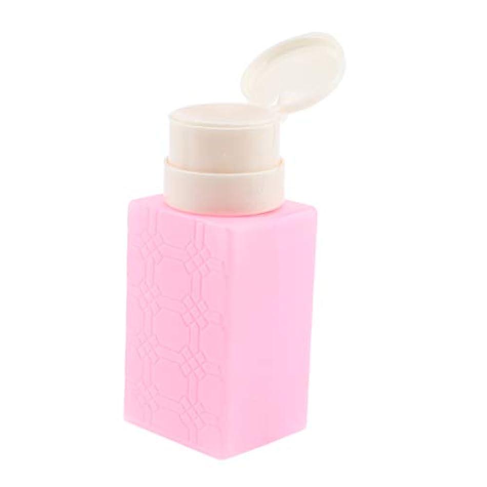 ずらすテクニカル慢性的ポンプディスペンサー ネイルクリーナーボトル ポンプボトル 200ml 4色選べ - ピンク