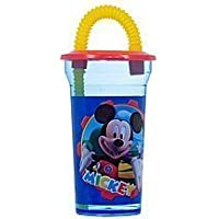 Disney sipping cup- Mickey & Friends spill proof bottle cup with flex straw by Zak Design [並行輸入品]
