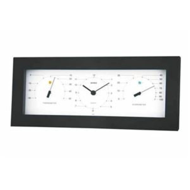 (まとめ) EMPEX置き掛け兼用 MONO 温度計?時計?湿度計 MN-4841 ホワイト【×2セッ