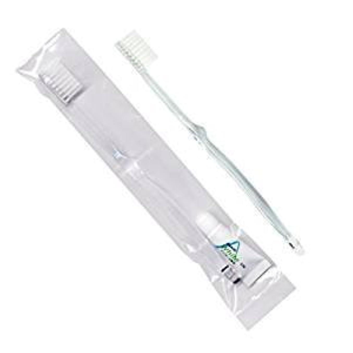 振動する群集圧縮するホテル業務用歯ブラシ28穴(クリア)3.5gチューブ OP袋Sタイプ 50本