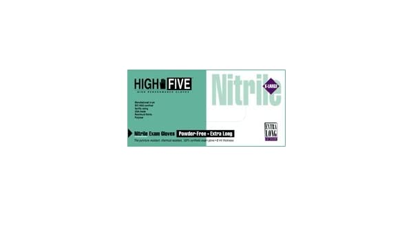 Case of 500 Medium High Five N892 Nitrile Long Cuff Glove 6 mil Thickness Teal 12 Length Powder-Free 12 Length High Five Products Inc 1213F94CS Exam