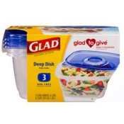 Glad Deep Dish 1パックof 3ct完了Dishes ( 3Lids and 3コンテナ–6個1パック)