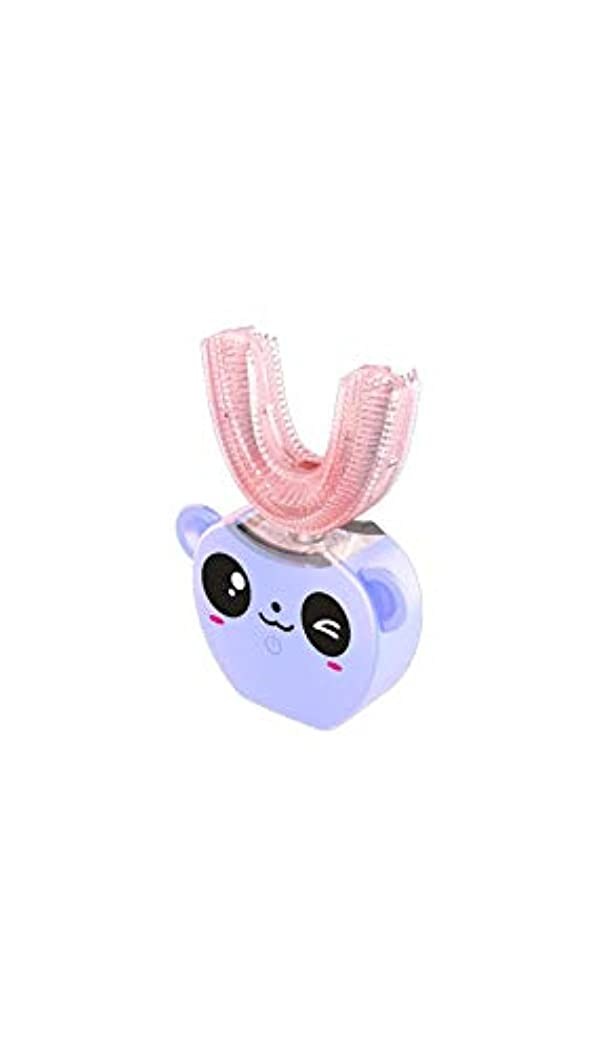 ピーク難しい子供の口と歯ブラシシリコーン電気超音波歯ブラシ360°インテリジェント自動防水歯ブラシ,Purple