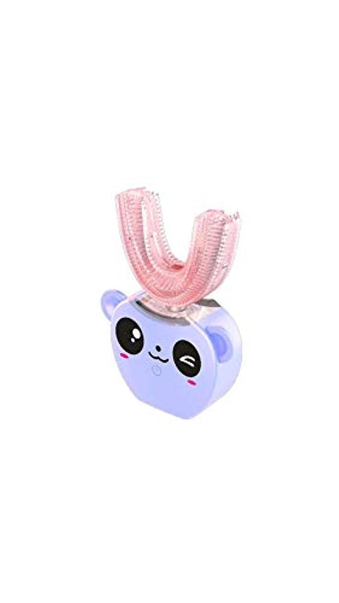 ライトニングスロープ最大の子供の口と歯ブラシシリコーン電気超音波歯ブラシ360°インテリジェント自動防水歯ブラシ,Purple